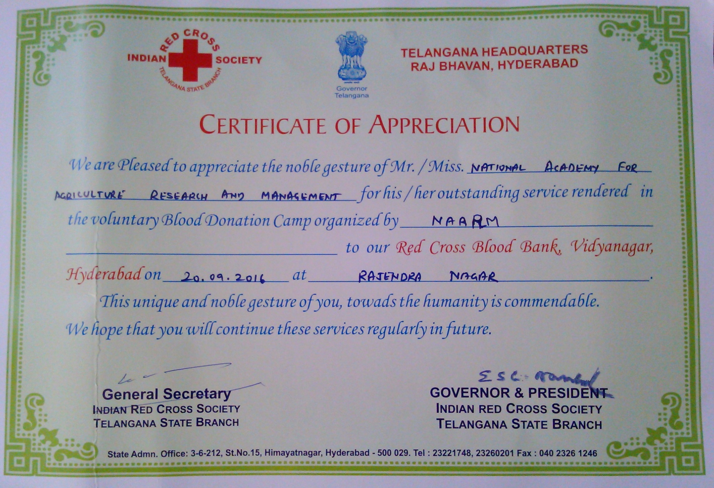 Naarm get certificate of appreciation from governor and president of blood donation yelopaper Choice Image